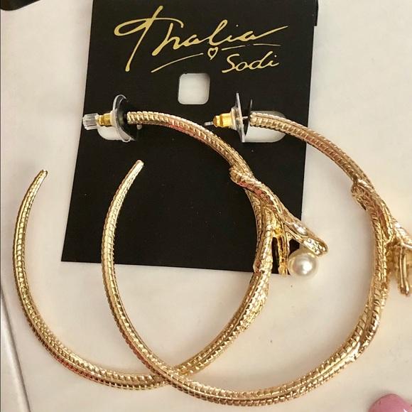 3e3d25abfcbf2 Thalia Sodi Goldtone snake hoop earrings . NWT